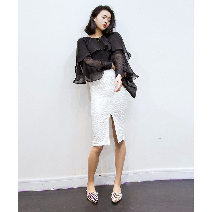 texture high waisted skirt