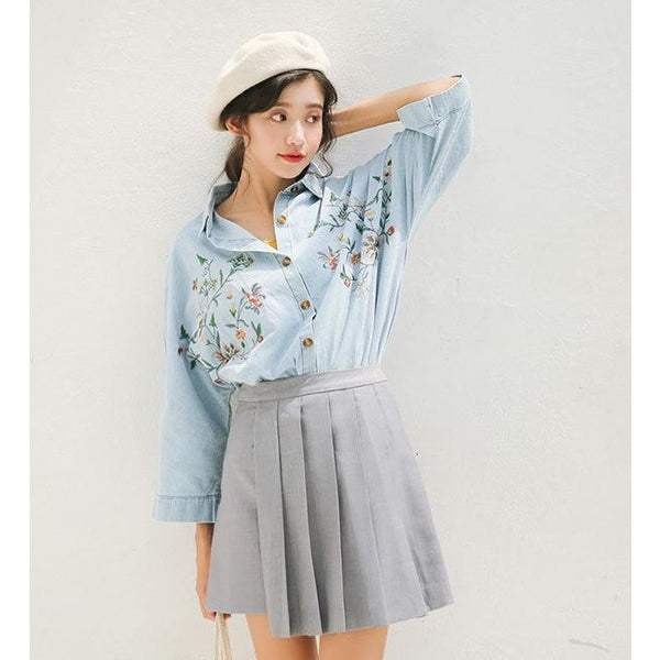 eclectic bat sleeves embroidered denim shirt