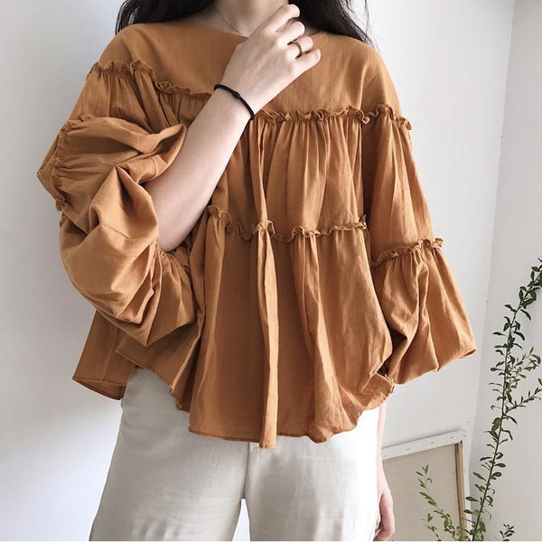 camel vintage tiered ruffled blouse