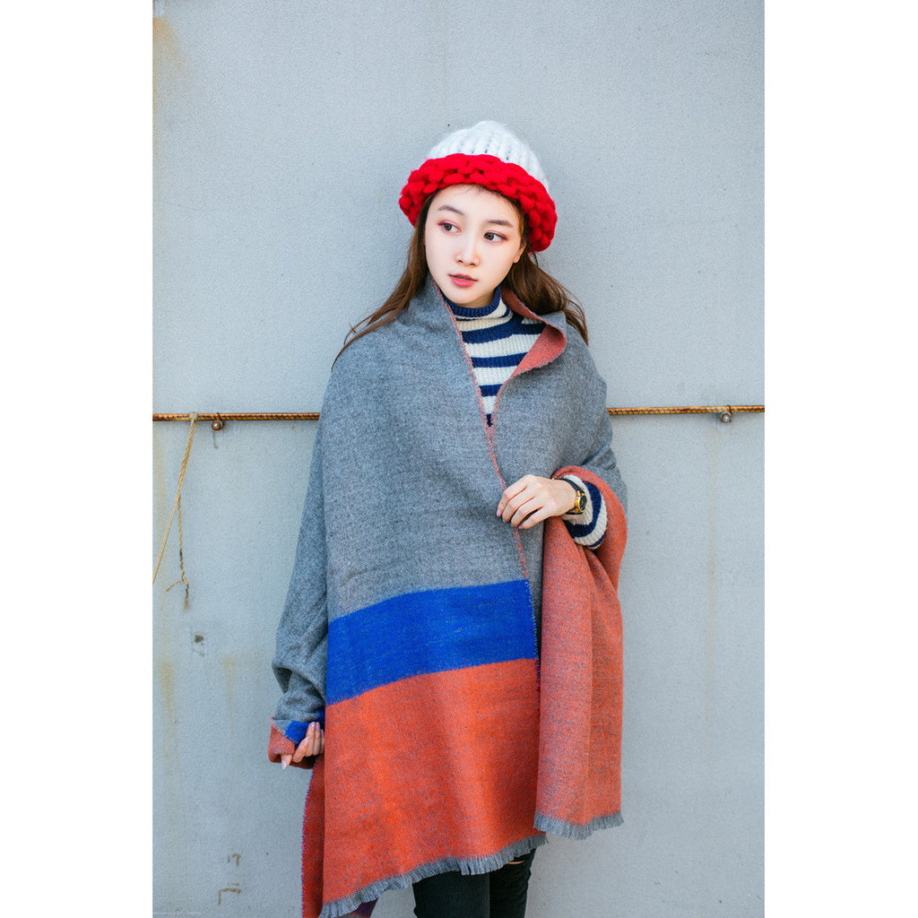 Oversized Blue & Orange Scarf