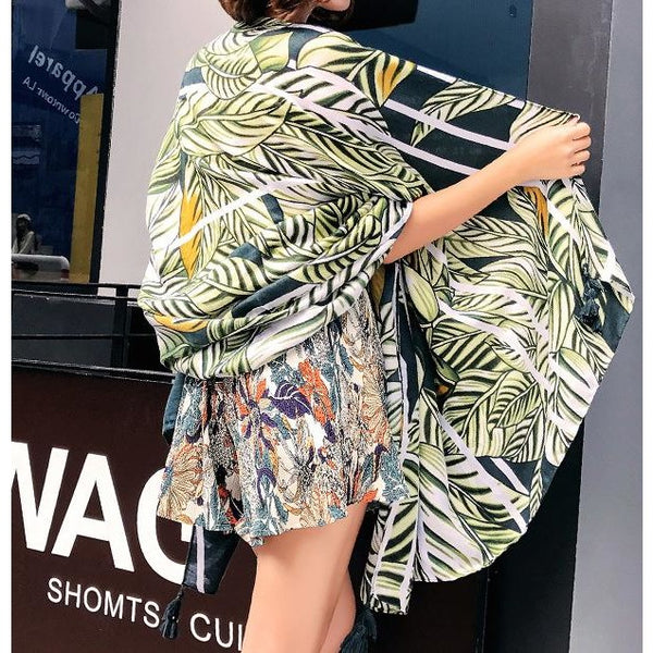 tropical theme oversized scarf