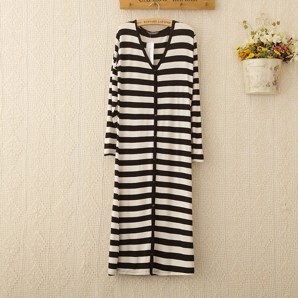 Stripe Slim Fit Long Cardigan - black and white
