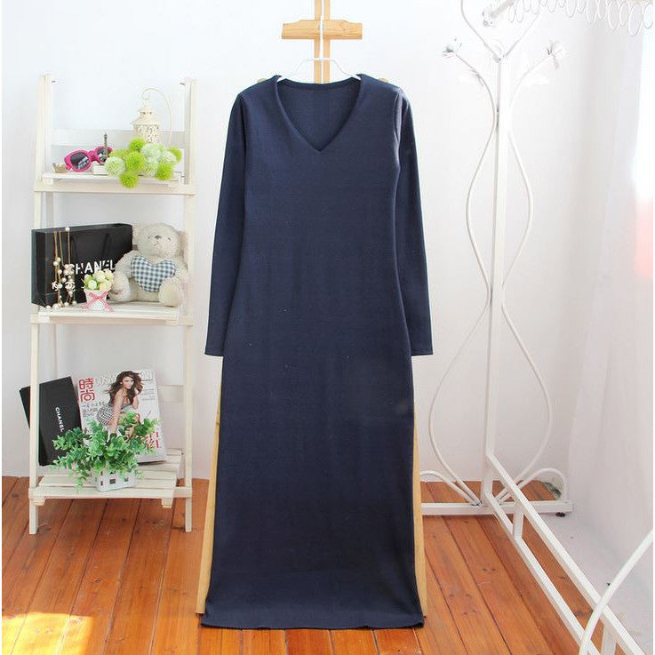 ribbed knit long dress - navy