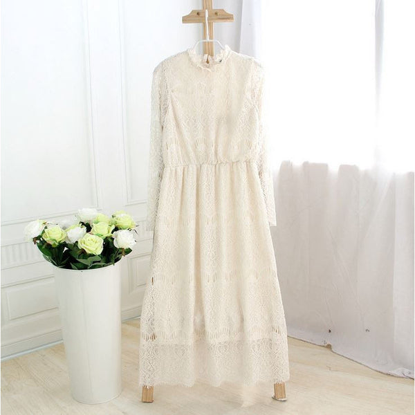 Crochet Lace Maxi Dress - cream white