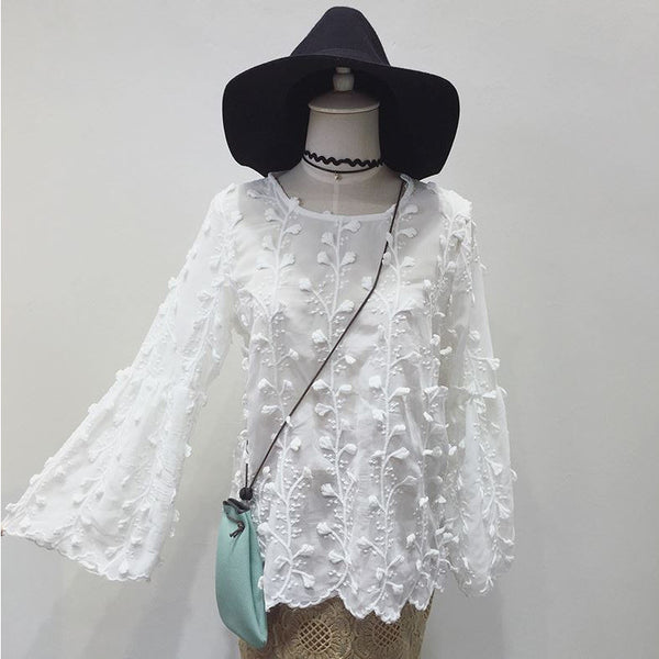 lace oversized trumpet sleeves