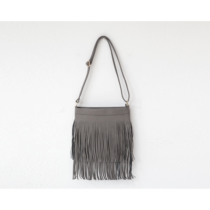 Hippy grey fringe cross body bag