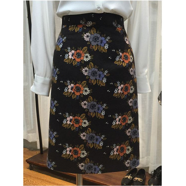 1960s Charming Blossoms Skirts (Black)