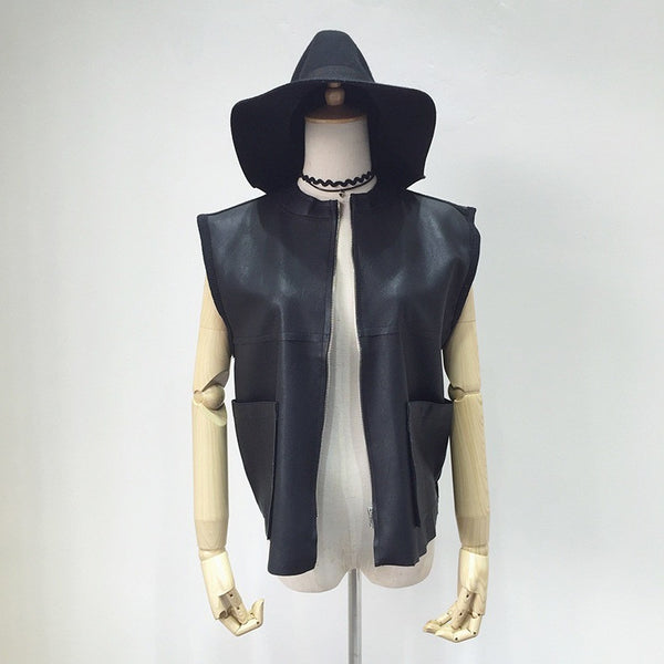 chic faux leather vest