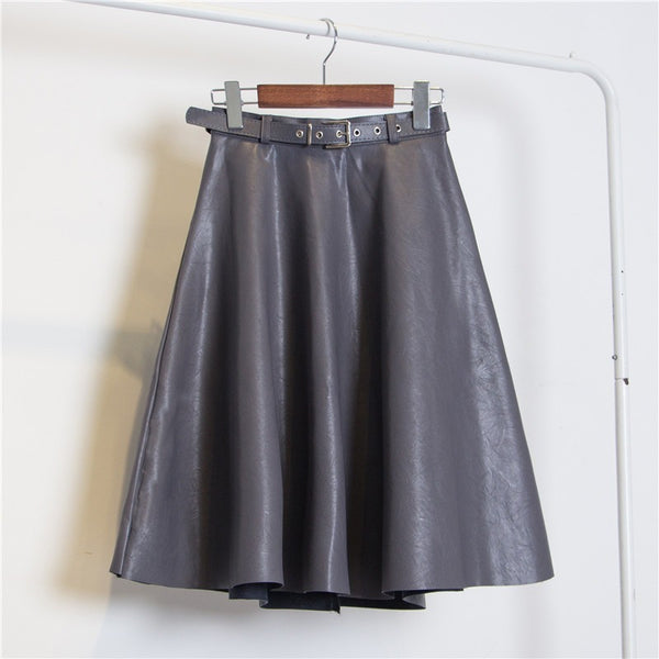 grey A-line faux leather skirt