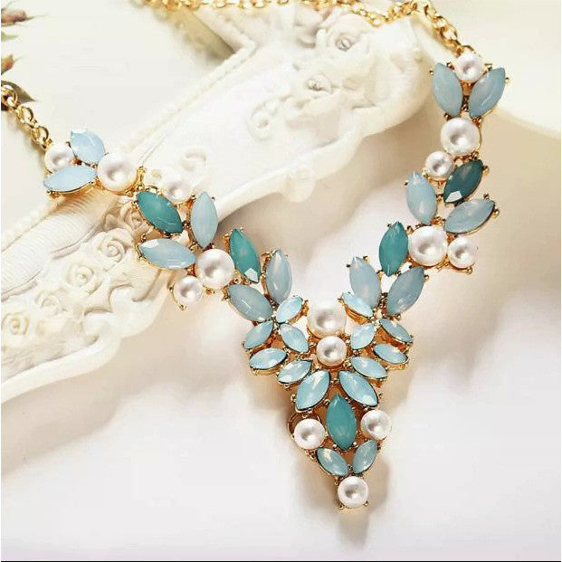 Blue Teal Stone & Pearl Necklace