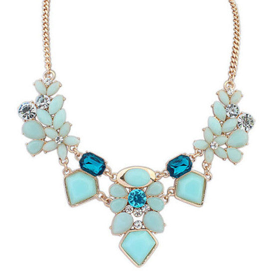 mint blue stone necklace