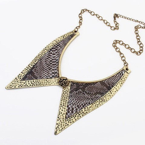 Animal Patterned Metal Collar Necklace