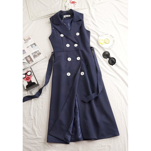 Double breasted slit sleeveless career dress