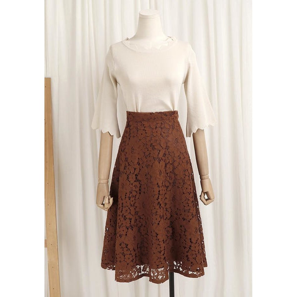 feminine scallop knit top and lace A-line skirt