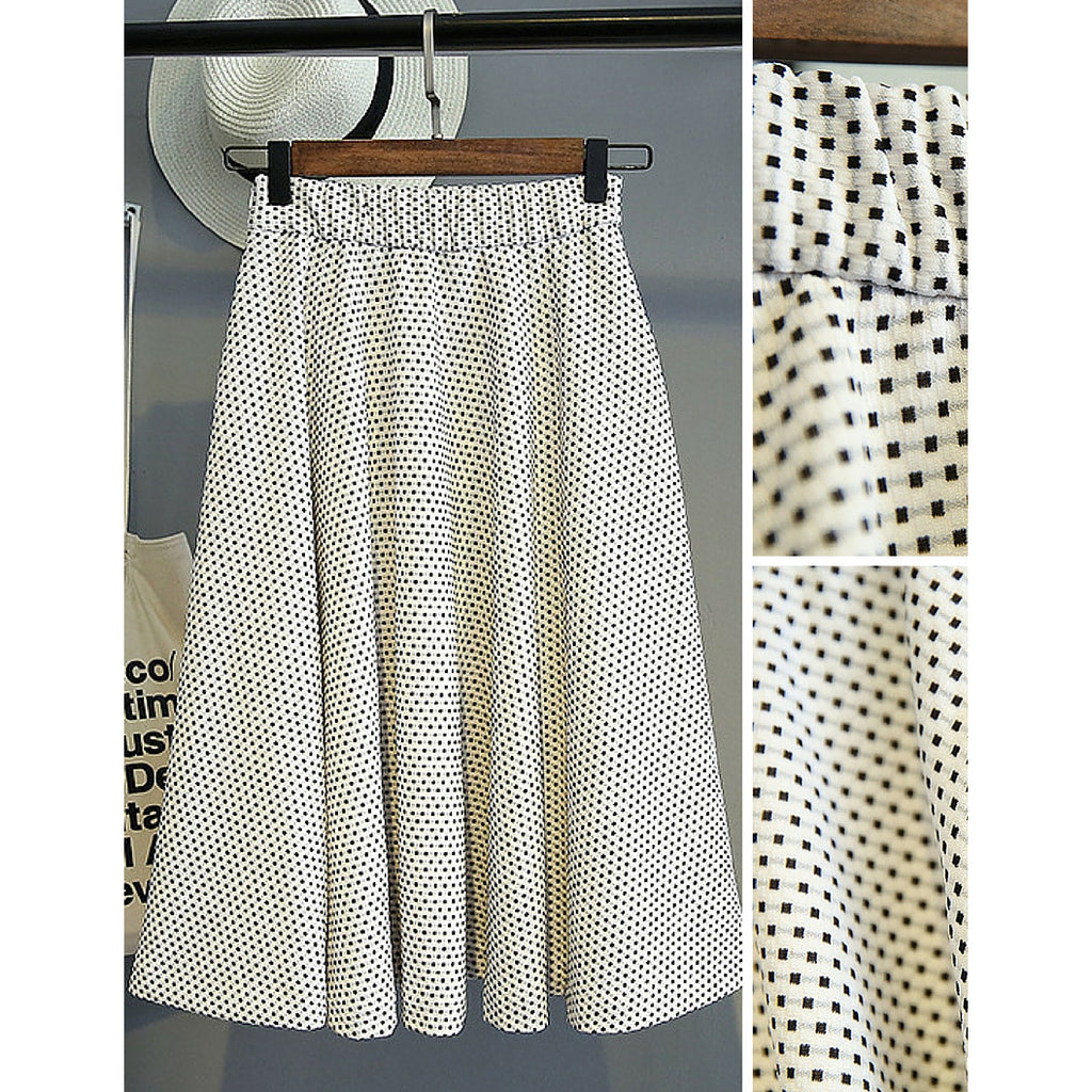 Square Dotted A-Line Skirt