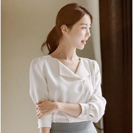 fold over neckline blouse