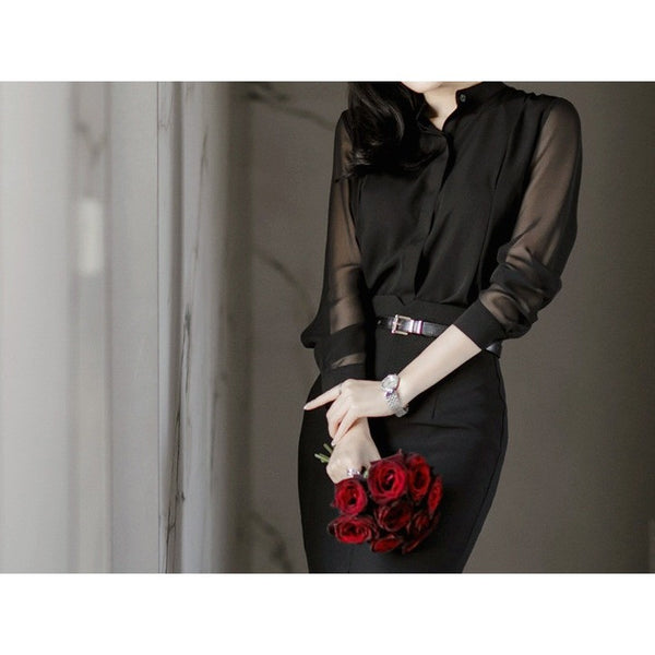 semi sheer chiffon black blouse
