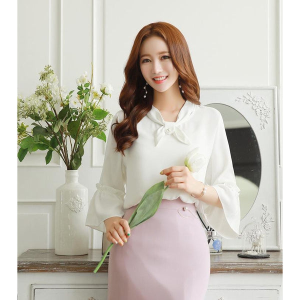 feminine ribbon blouse