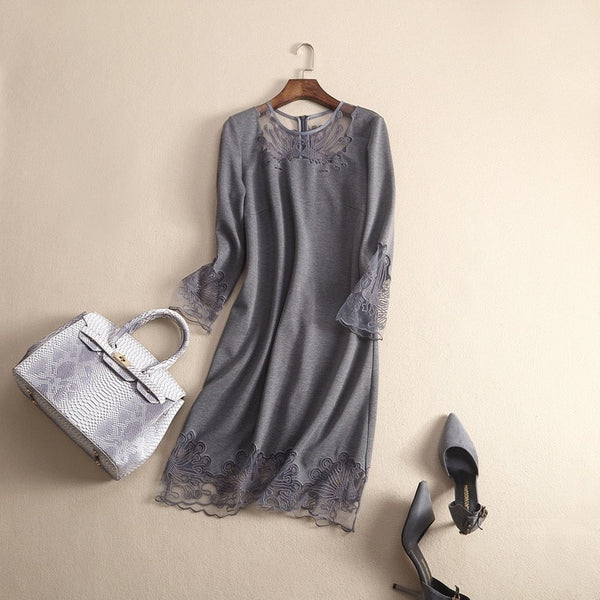 Little Grey Lace Dress - grey