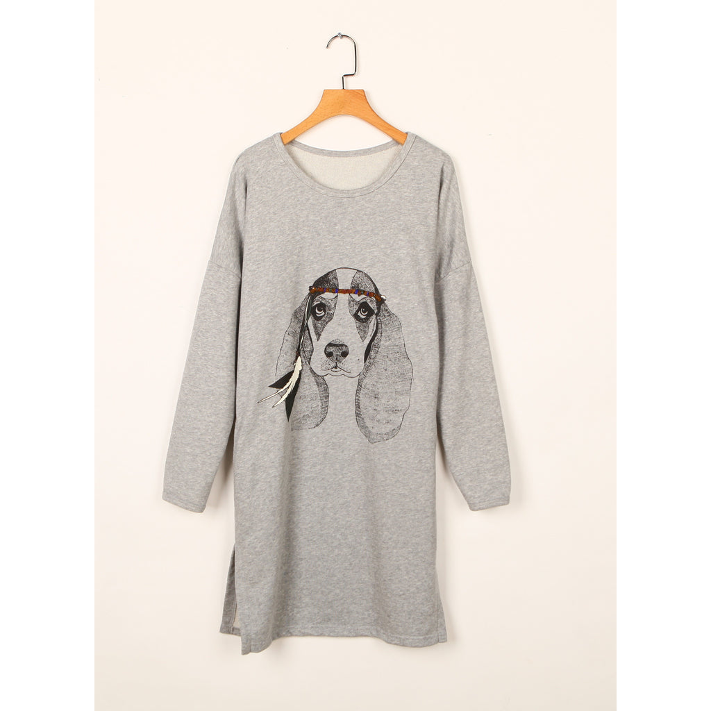 Cute dog print tunic top