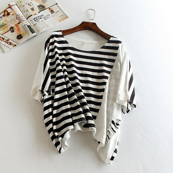 black and white stripe distressed top