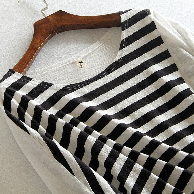 chic stripe color block distressed top