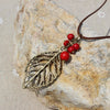 Red Stones and Leaf Necklace - Sensibilitie 3