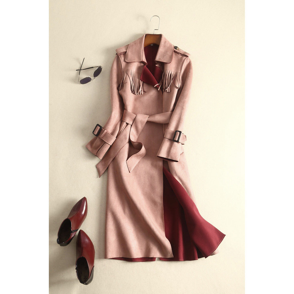Tribal Theme Trench Coat - pink