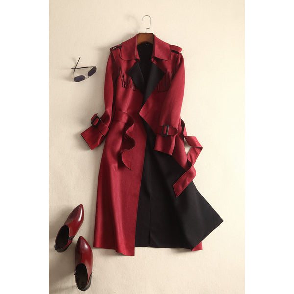 Tribal Theme Trench Coat - red