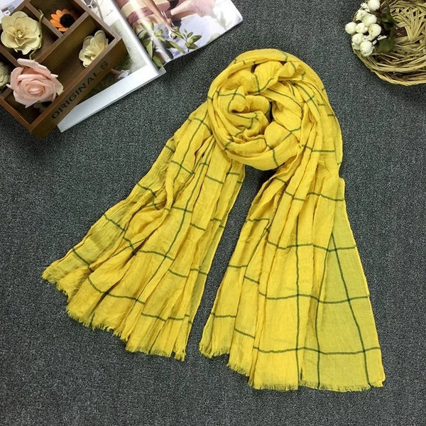 plain pattern scarf yellow
