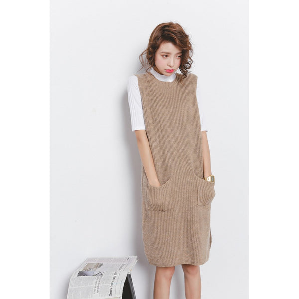 cute slit khaki vest knit dress