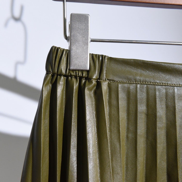 olive green pleated leather skirt