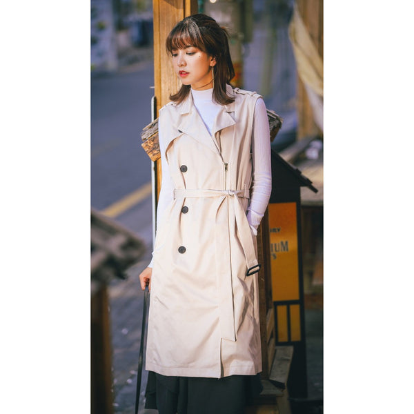 Long vest trench coat