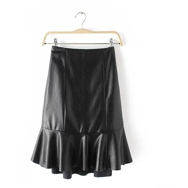 peplum leather skirt