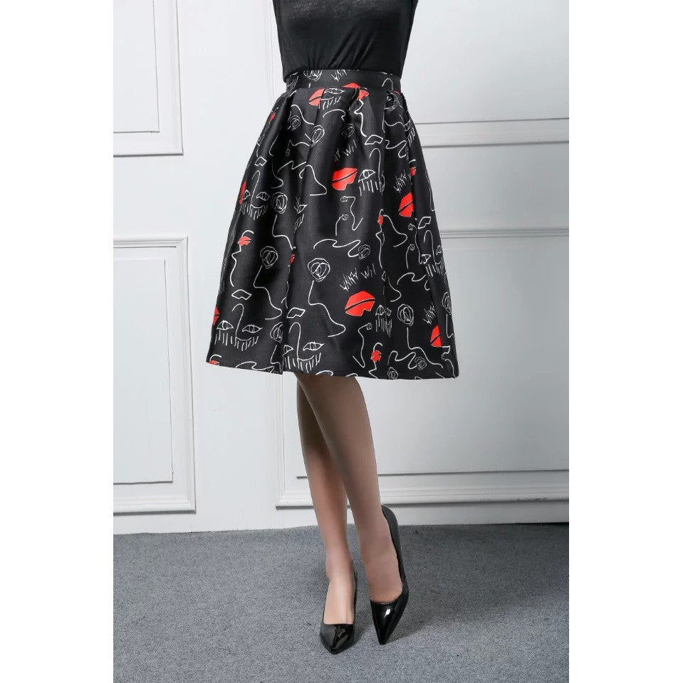 Abstract Print A-Line Skirt