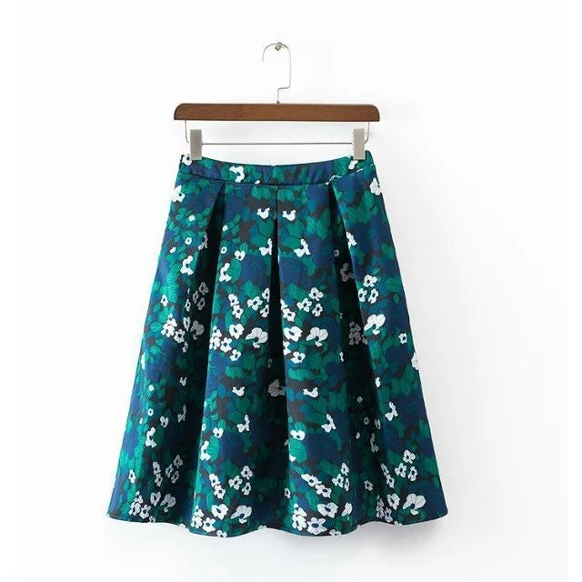 blue and green tones floral skirt