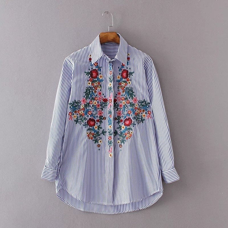 pinstripe embroidery shirt