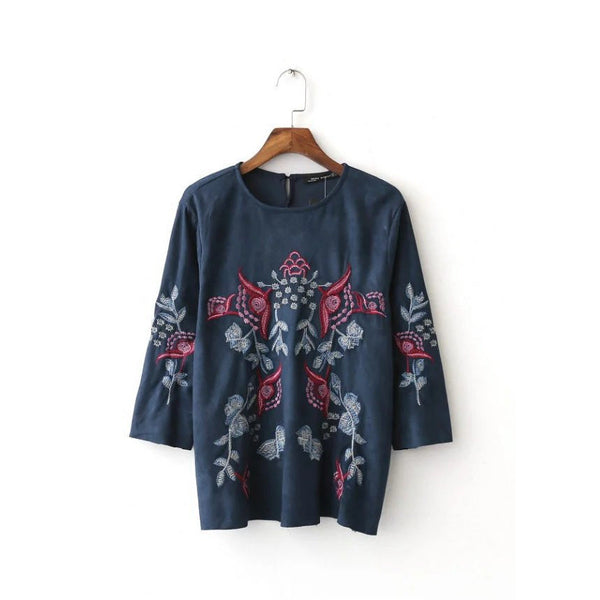 ethnic embroidery suede top