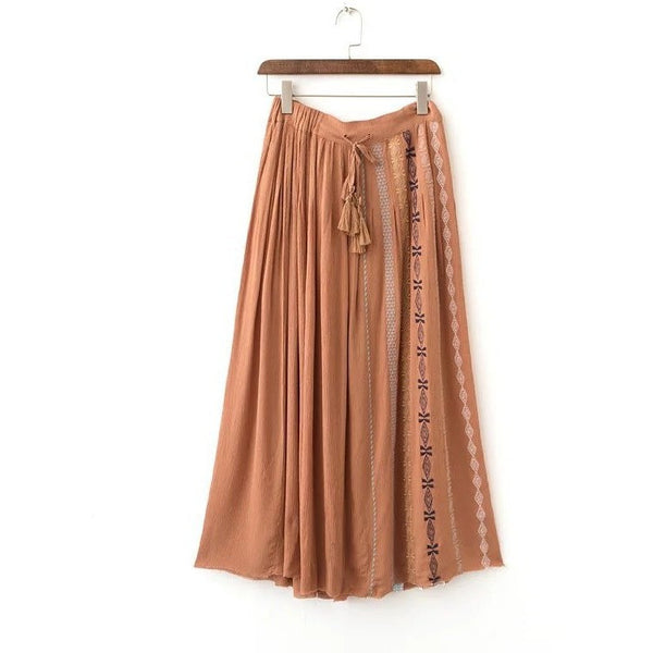 embroidery maxi skirt