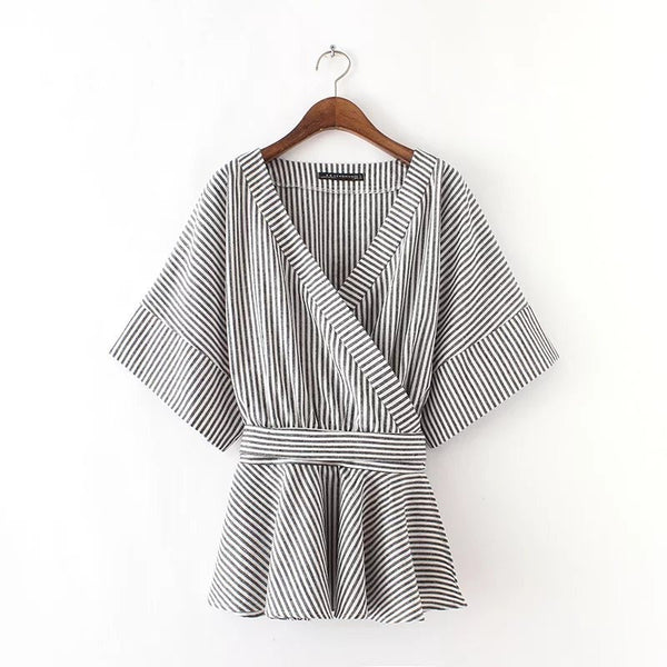 Chic stripe belted top
