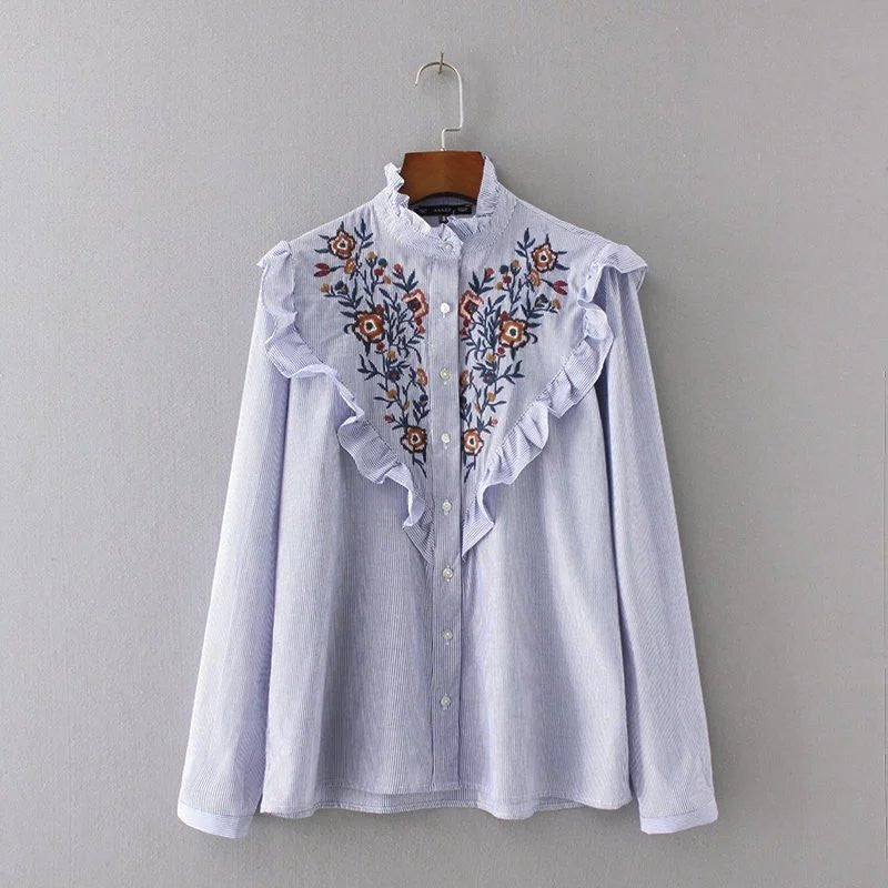 embroidery frill bib shirt