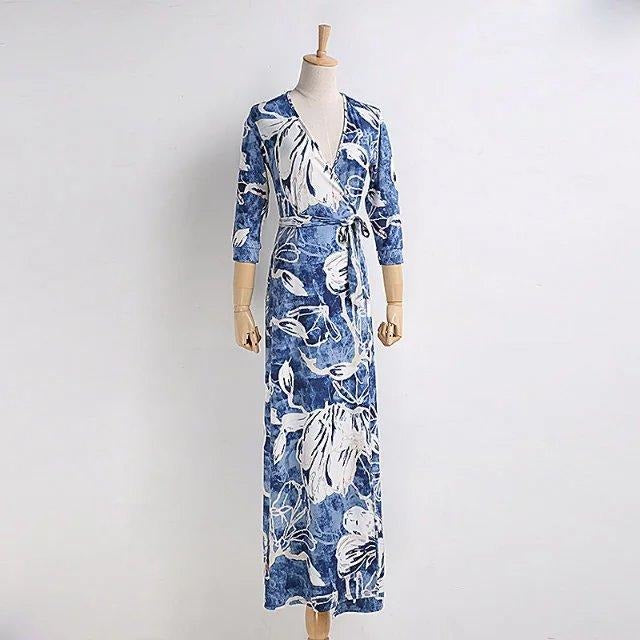 V NECK abstract print dress