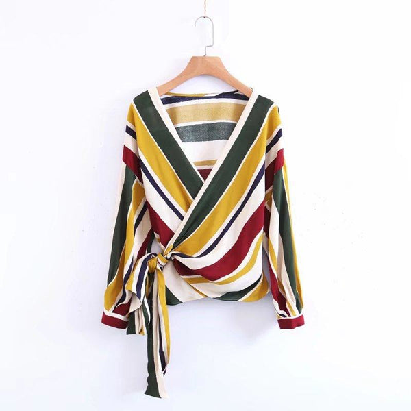 70s colors wrap over blouse