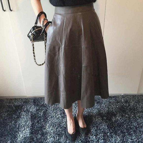 Flare Lady Leather Skirt - grey
