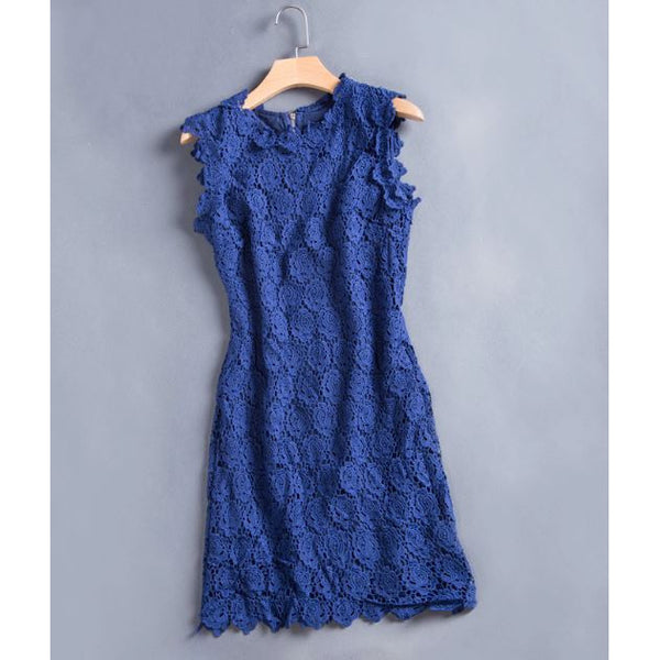 Royal Rosette Crochet Dress - blue