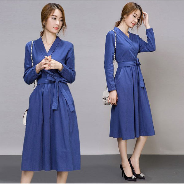 Wrap Over Office Dress - blue
