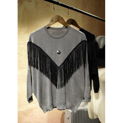 Rock Star Fringed Knit Top