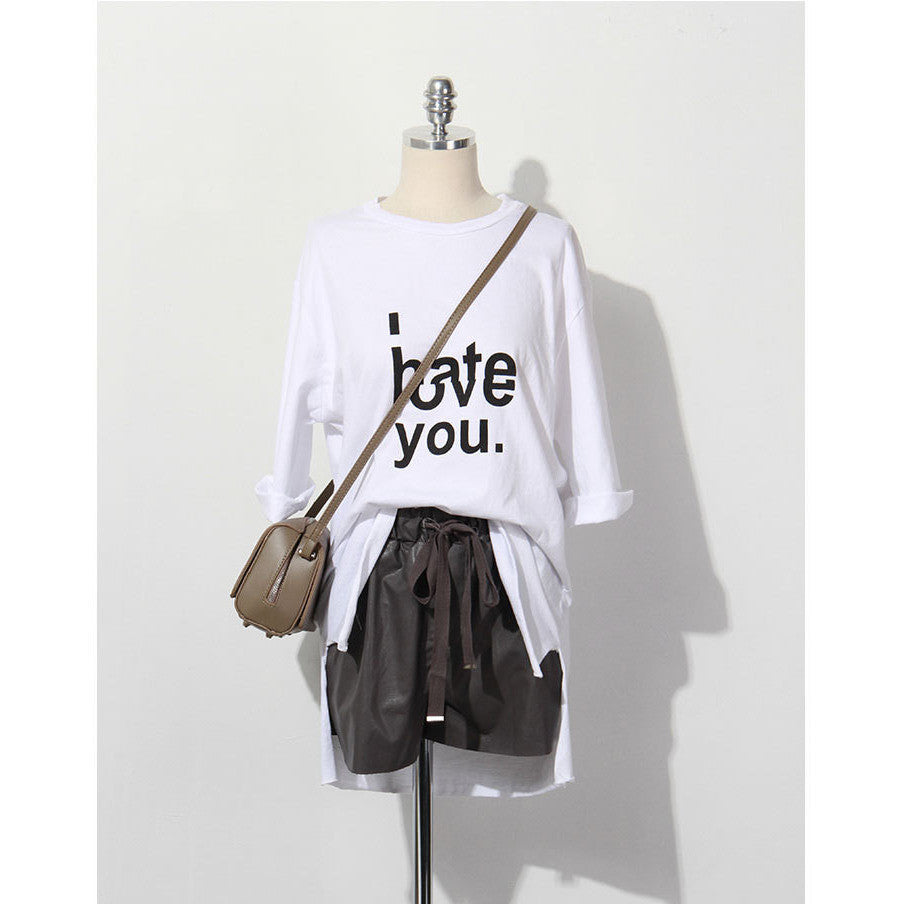 ove and hate sentiment print long tee