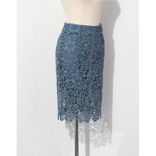 blue crochet skirt