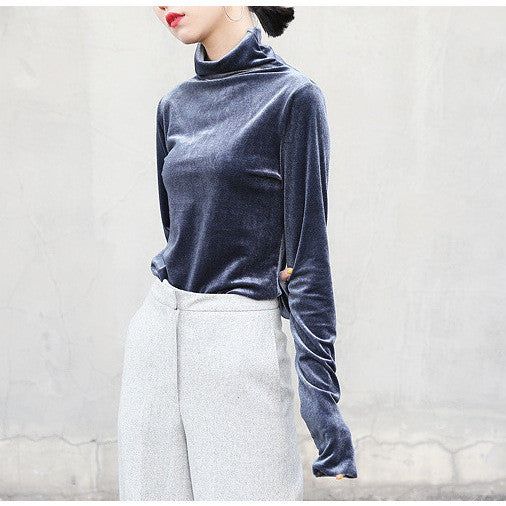 chic blue velvet turtleneck top